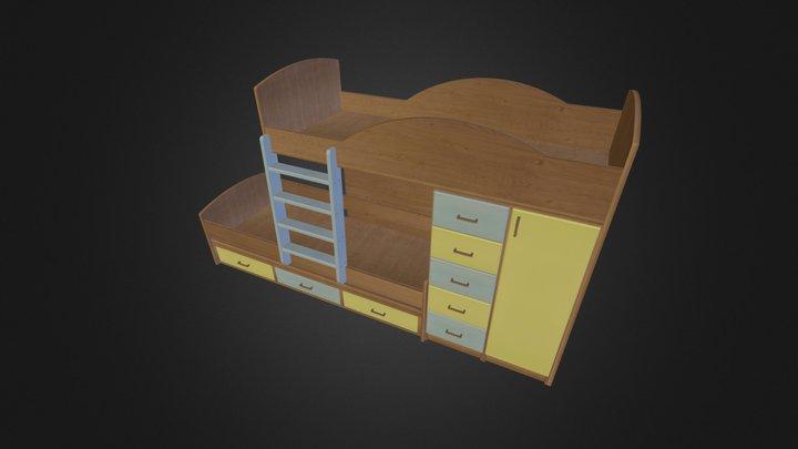 מיטת קומותיים דגם 253 A דוגמא3 נגרר 263-1 3D Model