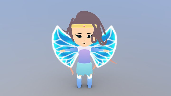 Low-Poly Chibi Fairy 3D Model