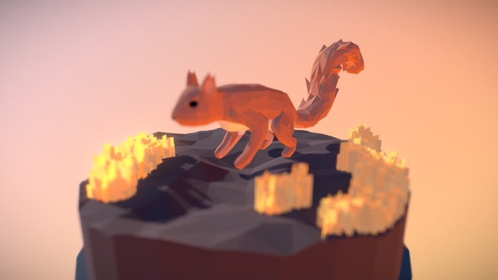 Low Poly Squirrel 3D Model