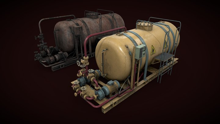Oil storage with pump station 3D Model