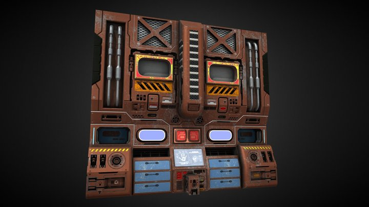 Sci Fi Corridor Panel 3D Model