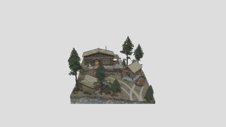 Loner in the Woods Diorama 3D Model