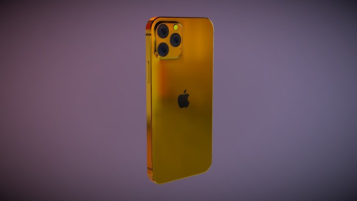 iPhone 12 Gold Plated   HQ 3D Model