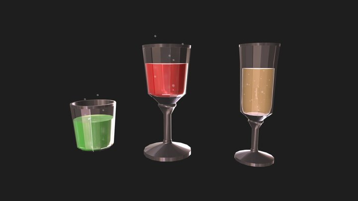 Fizzy Drinks - Soda and Champaign 3D Model