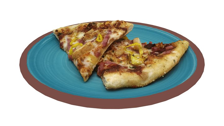 Pepperoncini Chicken and Ham Pizza 3D Model