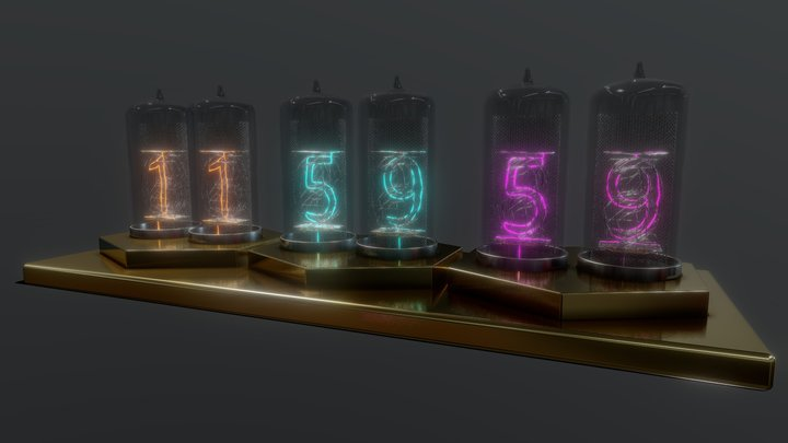 nixie-tube-clock-001 3D Model