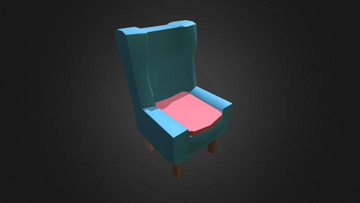 Low Poly Armchair Game Asset 3D Model