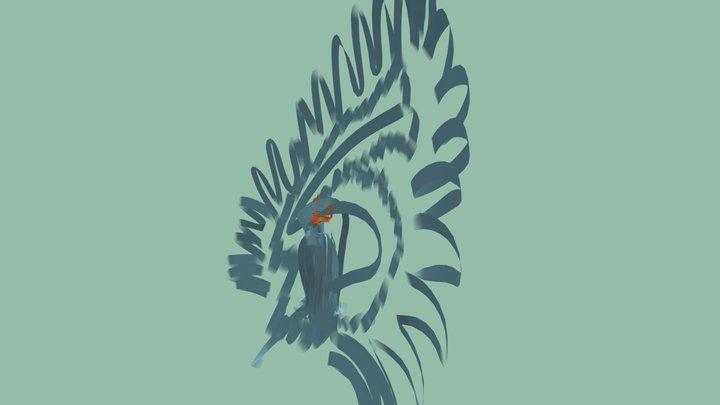 Never-ending Fabric Peacock 3D Model