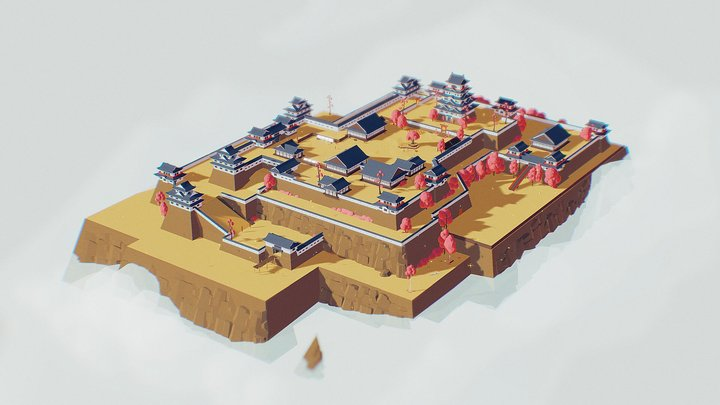 Low Poly Ultimate Pack - Castle in clouds 3D Model