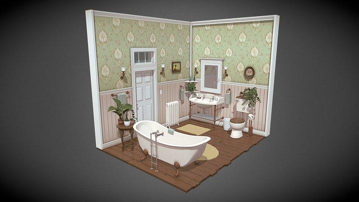 Victorian Bathroom Interior 3D Model