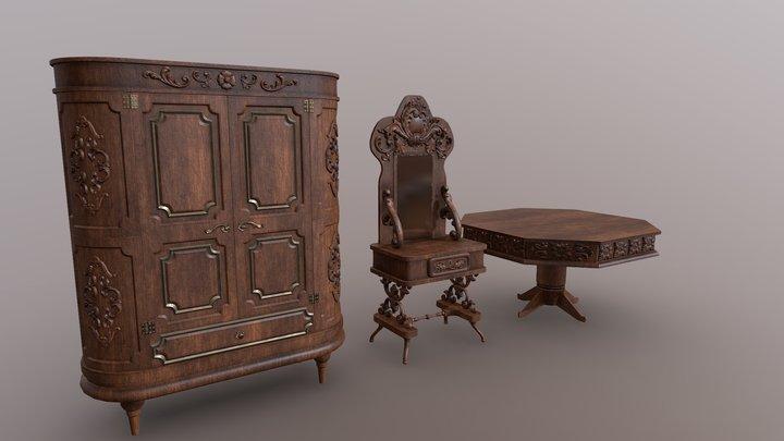 Vintage Furniture Pack (+Kitbash Parts) 3D Model