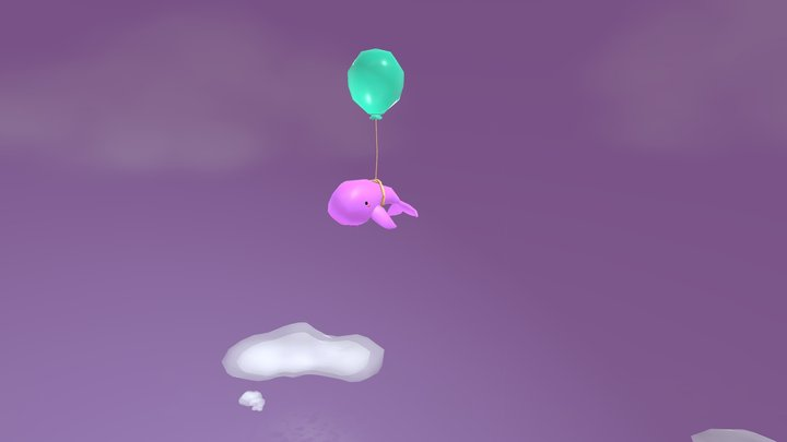 Diorama ballena Low Poly 3D Model