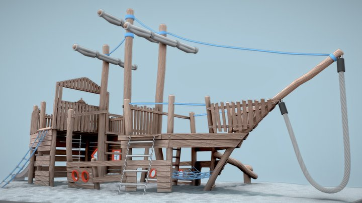 Playground Wood Ship (wip-6) 3D Model