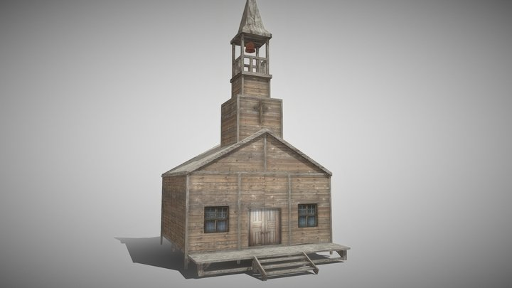 Western church - Mobile GameReady 3D Model