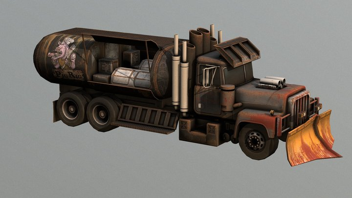 """""""The Pig Rig"""" Post Apocalyptic Food Truck! 3D Model"""