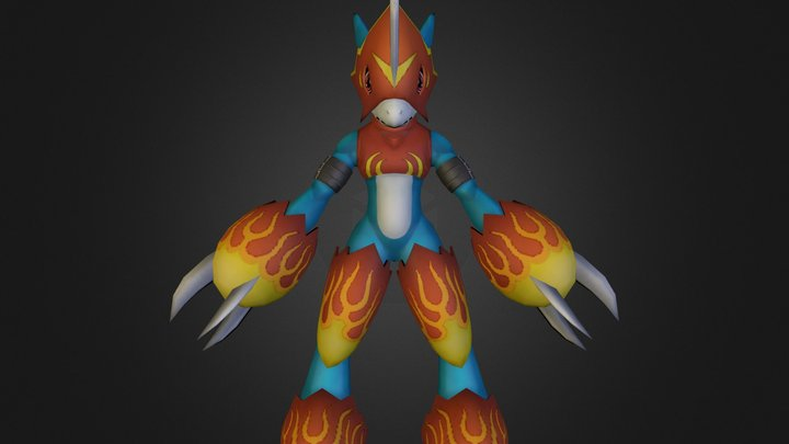PC Computer - Digimon Masters - Flamedramon 3D Model