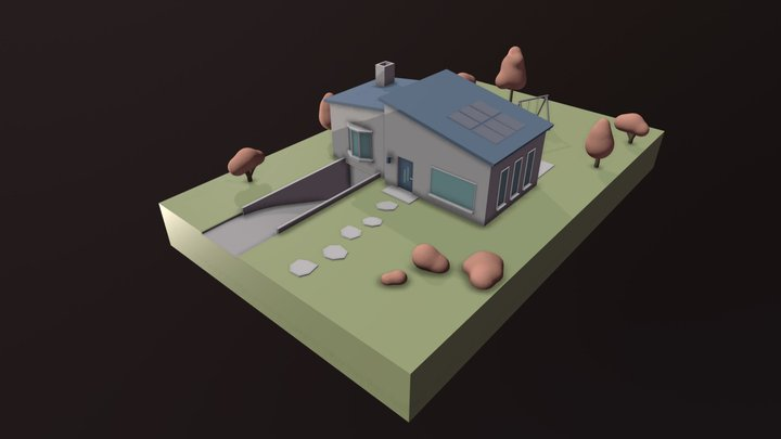 Simple Cute House 3D Model