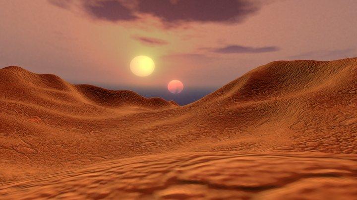Star Wars: Binary sunset over Tatooine desert 3D Model