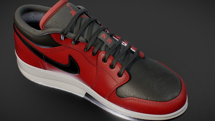 Nike Air Jordan 1 Low Red 3D Model