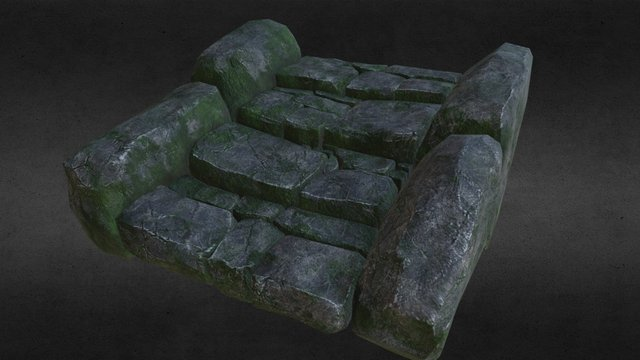 mossy stairs 3D Model