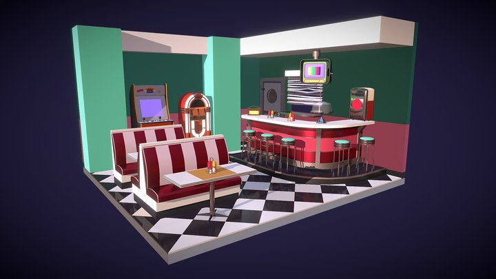 Retro Cafe_Homework4 3D Model