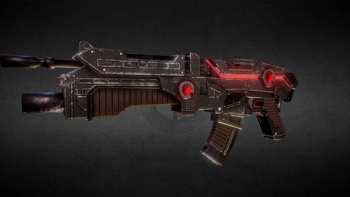 Assault rifle for Games 3D Model