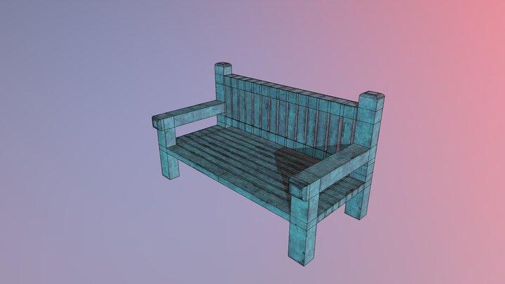 Low Poly Park Bench 3D Model