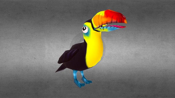 Happy Toucan | Idle Animation | Low Poly 3D Model