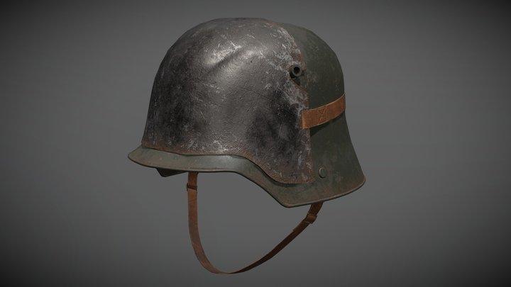 3D German Helmet WWI Stahlhelm M1916 with plate 3D Model