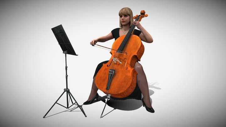 3D Scan Woman Musician 005 3D Model
