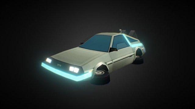 DeLorean Low Poly 3D Model
