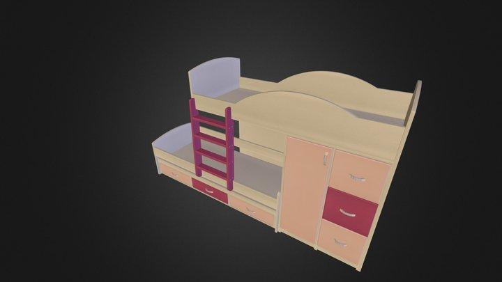 מיטת קומותיים דגם 254 A דוגמא3 נגרר 263-1 3D Model