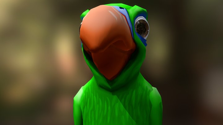 Side Step Pirate Parrot 3D Model