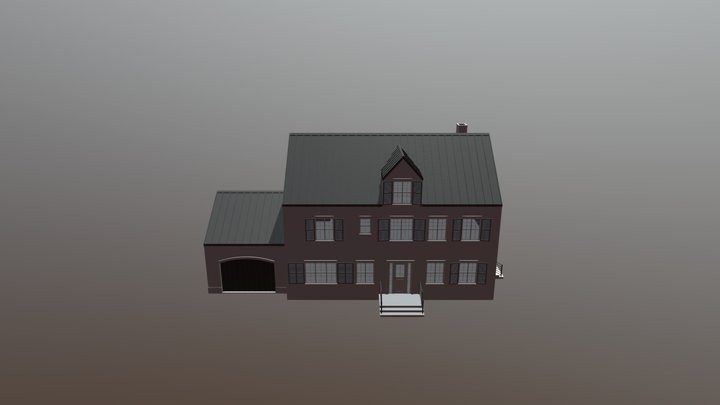 Modern Brick House 3-D 3D Model