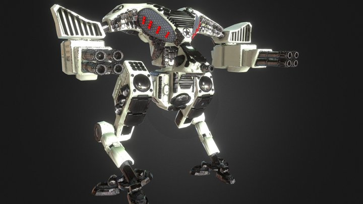 Battle mech game ready rigged animated asset 3D Model