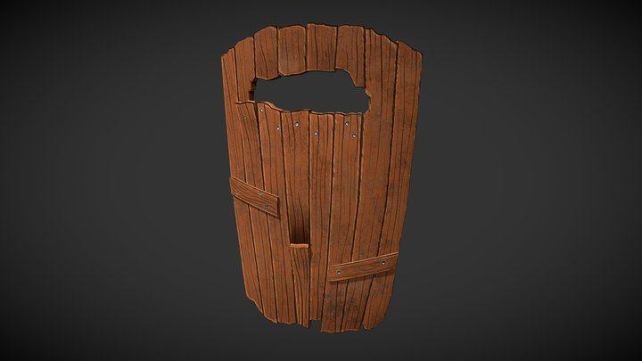Stylized Wood Shield 3D Model
