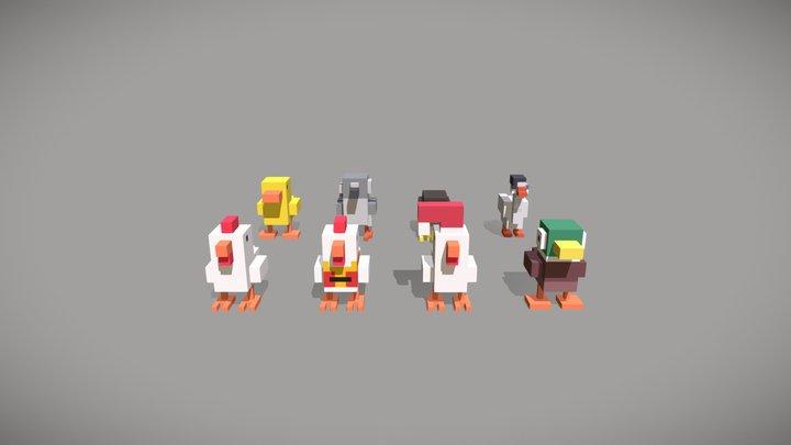 Voxel Pack of 8 birds for video games 3D Model