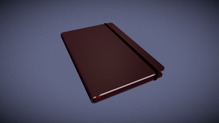 Journal - Oxblood Leather Bound Notebook 3D Model