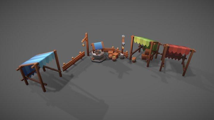(WIP) Fantasy Village Props Scene 3D Model