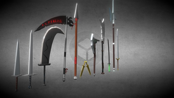 Pack weapon Lowpoly 3D Model
