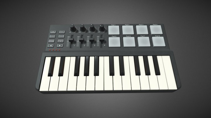 Two octave MIDI Keyboard 3D Model