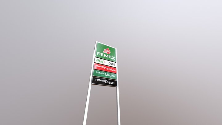 Advertisement of Mexican Gas Station (PEMEX) 3D Model
