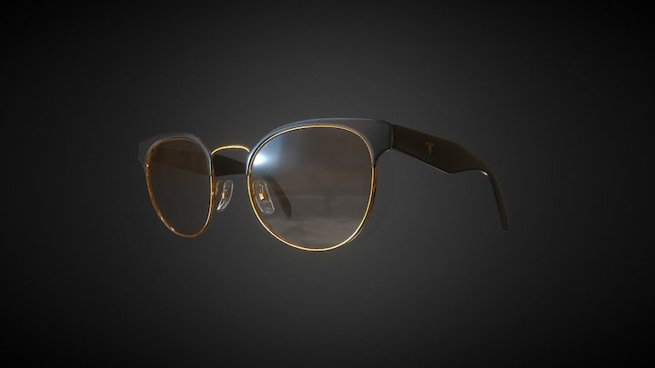 Prada Clubmaster PR 61TS Black/Brown,G04L01-A 3D Model