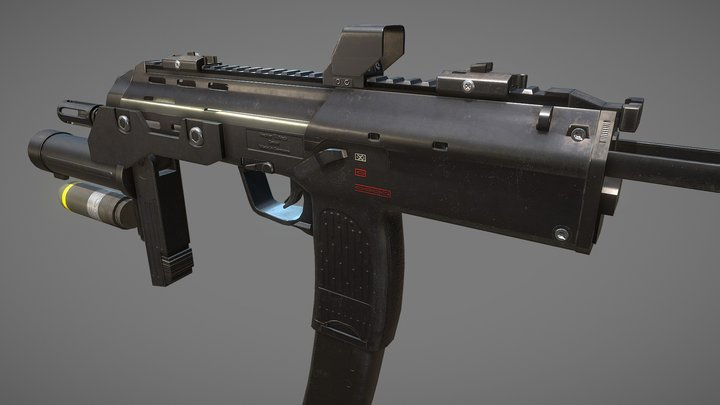 Heckler and Koch MP7 with Grenade Launcher 3D Model