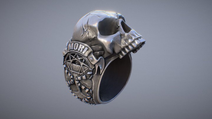 Memento Mori Skull Ring 3D Model