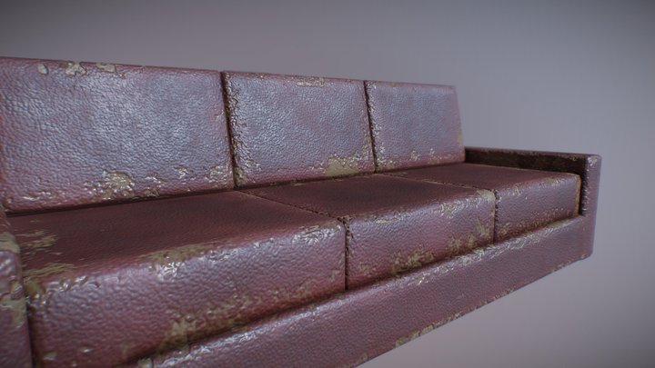 A Simply Damaged Couch. 3D Model