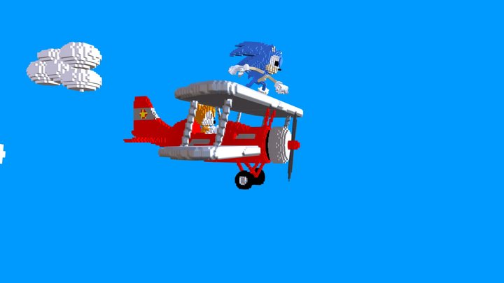 Sonic  and Tails Voxel 3D Model