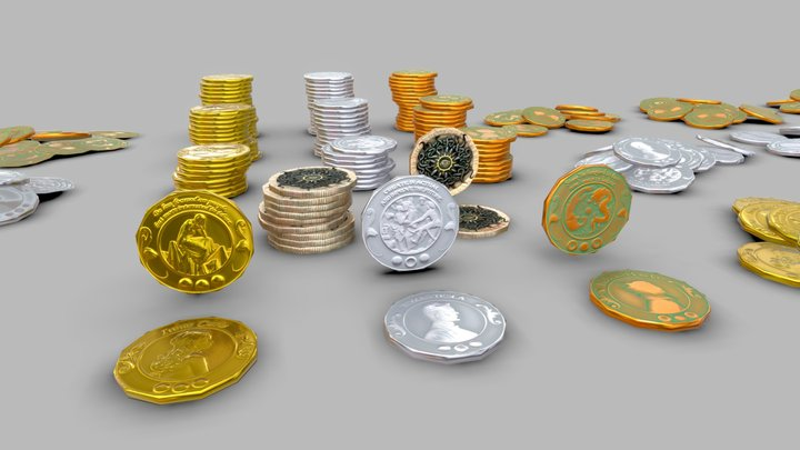 Coins Low Poly 3D Model