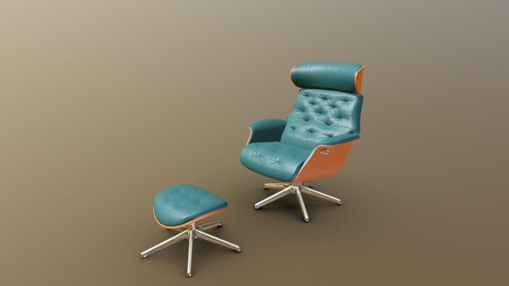 Arm Chair with Footrest Green Leather 3D Model