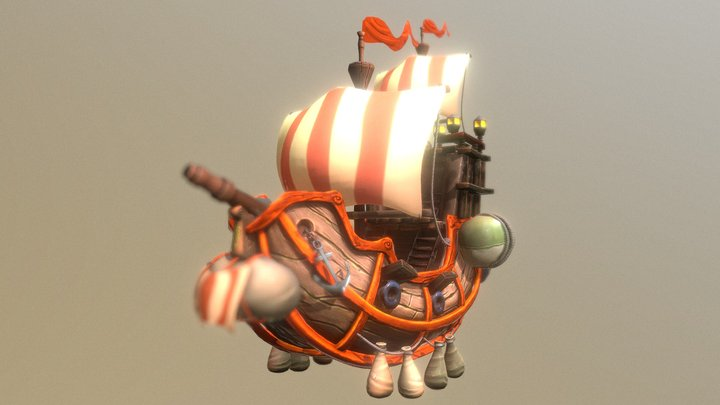 Flying Ship Hand-Painted 3D Model